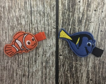 Finding nemo hair clips, finding dory hair clips, nemo hair clip, dory hair clip, fish hair clips, felt hait clips