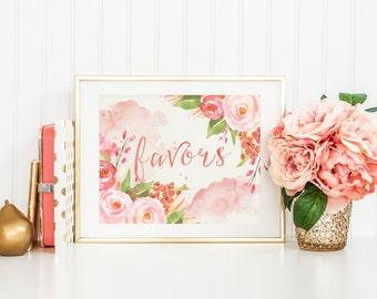 favors wedding sign printable, blush wedding decor, floral wedding, printable favors sign, wedding favors sign, garden wedding, digital