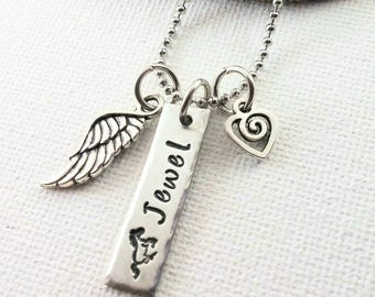 Personalized Horse Memorial Gift Custom Horse Memorial Necklace With Angel Wing