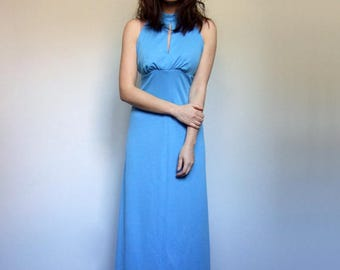 Vintage Blue Maxi Dress Bright Blue 70s Summer Dress Long Dress - Small S