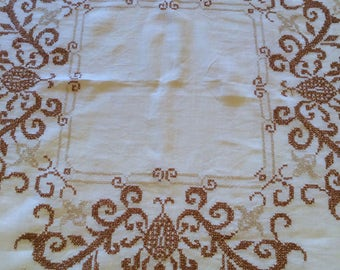 """48"""" Square White Linen Tablecloth with Brown Cross Stitch Border"""
