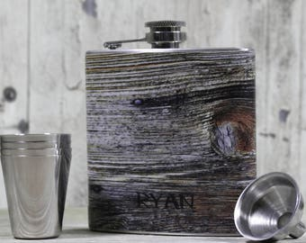 Personalized Flask //Faux Weathered Wood Flask