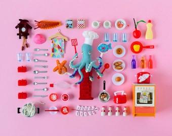 Print: Playful Cooking - art miniature collage photo pink digital octopus felt toy figurine retro pez chef kitchen wall-decor HineMizushima