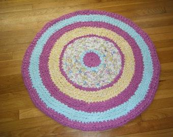 Rasberry Pink and Baby Blue Rag Rug