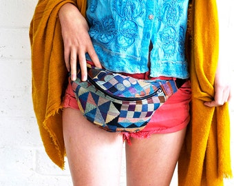 Geometric bumbag fannypack tapestry, black ykk zip. fully lined fanny pack with key ring tab for children and adults