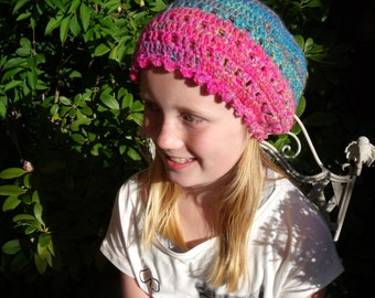 Crochet hat in pink and blue/green shades (large women's size)