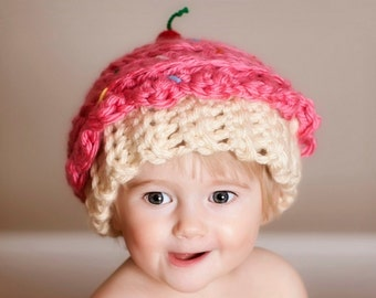 Cupcake hat-crocheted