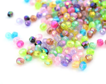 Mix 10 g (±400 beads) 4mm acrylic faceted beads