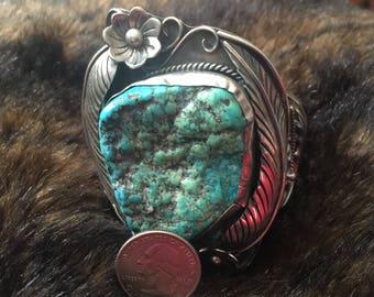 160g - Vintage Native American Seafoam Turquoise Sterling Cuff Bracelet
