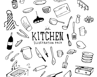 Kitchen illustration Pack (Elements, handdrawing)