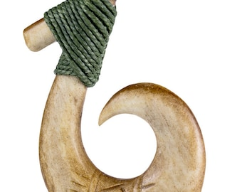 Hawaiian Aged Bone Fish Hook with Scrimshaw and Specialty Cord