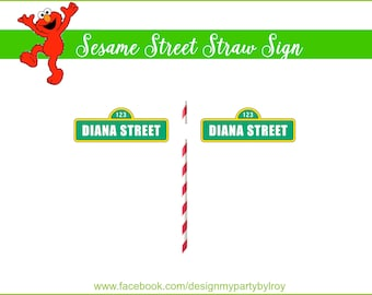 24 CUSTOM MINI SESAME Street Straw Signs, Sesame Street Party, Elmo Party, Sesame Street Party Printable,Sesame Street Signs,Sesame Street.