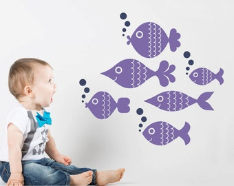 Ocean Big Fish Decals Ocean Baby Nursery Under the Sea Wall Stickers Underwater Sea Life Kids Room Decor: SWIM LEFT