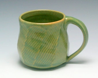 Coffee Mug, 11 oz, handthrown ceramic mug, stoneware pottery mug, green and biege with brown speckles/Ceramics and Pottery