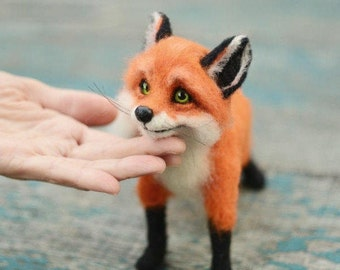 Felted fox Beautiful fox Needle felting fox Portrait fox Felted animal Miniature fox Fox totem Cute fox Redhead fox Red fox Sly fox Fox toy