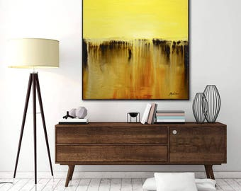 Original Abstract Painting Square Yellow Amber Abstract Modern Textured Oil Painting 36 x 36 High Gloss Contemporary by Sky Whitman