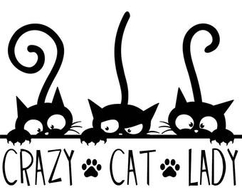 Crazy Cat Lady 3 Cats Vinyl Decal Sticker
