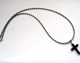 Hematite necklace with Hematite cross 21""