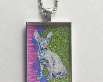 Sphynx Charm, Rex Necklace, Hairless Cat, Resin Pendant, Pet Lover Gift, Animal Jewelry, Pink Purple Green, Gift For Her, Geometric
