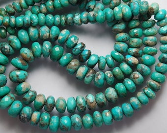 2 x 17 Inches Long Necklace, Natural Arizona Sleeping Beauty Turquoise Faceted Large Rondelles, 10-5.5mm