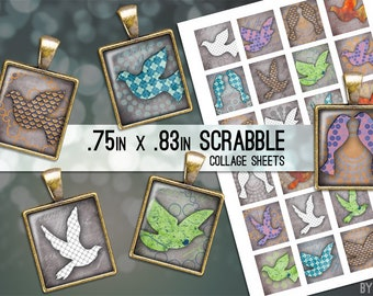 Birds Collage Sheet Digital Scrabble Tile Images .75x.83 on 4x6 and 8.5x11 Download Sheets for Glass or Resin Pendants E0010