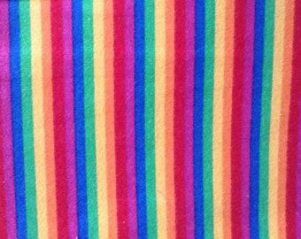 Flannel/Rainbow stripe print cotton fabric by the yard