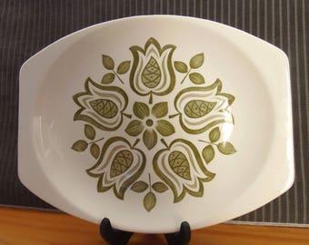 MID CENTURY J&G MEAKIN Green Tulip Platter