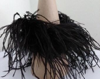 Single black ostrich feather cuff