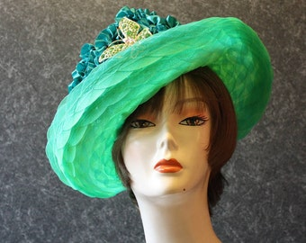 Green Kentucky Derby Hat, Garden Party Hat, Tea Party Hat, Easter Hat, Church Hat, Wedding Hat, Derby Hat, Downton Abbey Green Hat 429