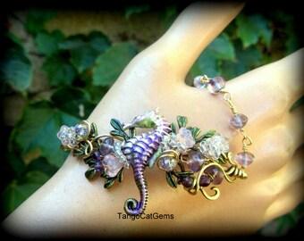 Organic WireWrap Seahorse Bracelet Amethyst Gemstone Whimsical Hand Painted Original Design by TangoCatGems