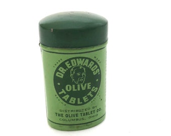 Dr. Edwards Olive Tablet - Vintage Laxative Medical Tiny - Mini Tin - Display - Collectible - Medical Display - Apothecary Collectible