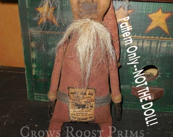 Primitive epattern-NOT DoLL, Christmas Delivery Santa Claus doll 386e Crows Roost Prims  epattern  immediate download