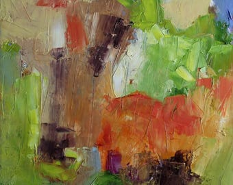 Abstract oil painting, impasto, textural, square, green, warm red, dark brown, blue, 16 x 16, free shipping
