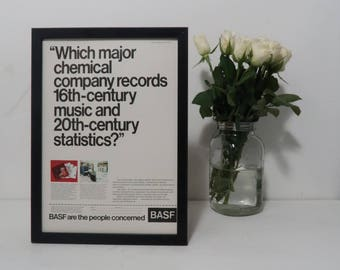 Vintage BASF Advert Framed, Music Industry Old Fashioned Frame, Unique Sentimental Gift Him Music Lover, Wall Decor Man Cave Music Room,