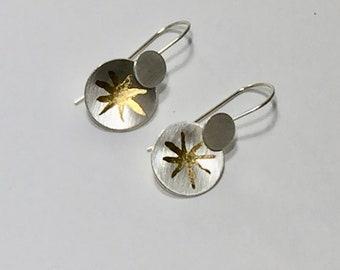 Sterling Silver and Gold Leaf Short Dangling Starburst Earrings