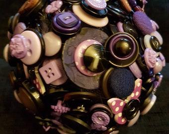 Purple & black button bouquet