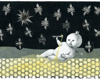 Limited Edition Print A4 size - The princess bee 6/50