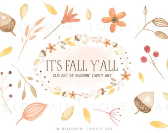 Watercolor Leaves Clip Art - Watercolor Fall Clipart - Fall Flower Clip Art - Autumn Clip Art