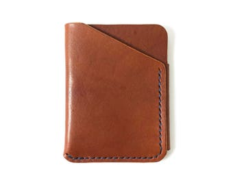 Leather Card Wallet, Brown with Navy Thread