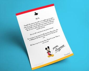 Editable Disneyland Surprise Reveal Letter from Mickey Mouse Including Envelope - Create Wonder & Magic - DIGITAL PRINTABLE DOWNLOAD