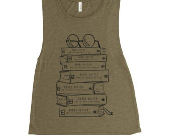 Harry Potter Wizard Book Lovers - Stack of Books - Ladies Flowy Muscle Tank - Book Series
