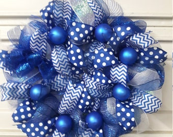 Blue and White dotted Ribbon Wreath, White and Blue Geo Mesh Ribbon Wreath