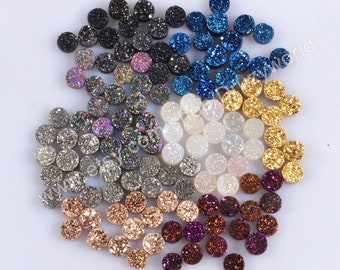 Wholesale 6mm Round Natural Titanium Agate Druzy Cabochon CAB Undrilled Coated AB White Silver Black Rose Gold Drusy Gemstone Jewelry LSA002
