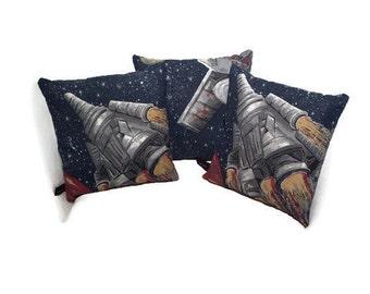 Vintage 1950s Sci Fi Mini Pillows - Set of 3