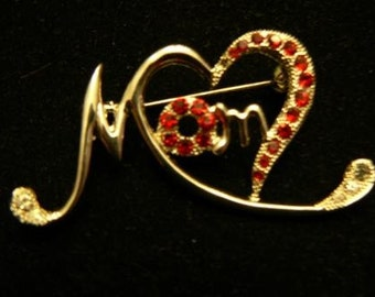 vintage jewels ...  MOM HEART BROOCH Pin in vintage paste stones ruby and glass ...