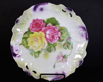 Bavaria Germany Roses Plate Cabinet Plate Antique Plate Scalloped Hand Painted Gift For Women