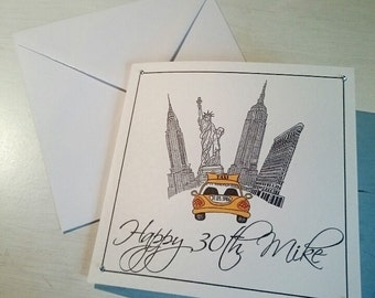New York City themed birthday card
