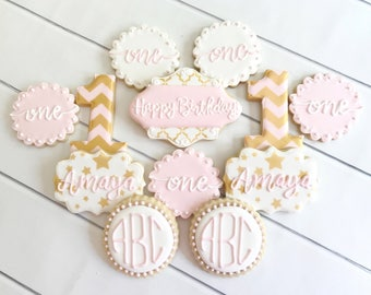Pink and Gold Birthday Cookies | Pink and Gold Baby Shower | First Birthday Cookies | Baby Shower Cookies