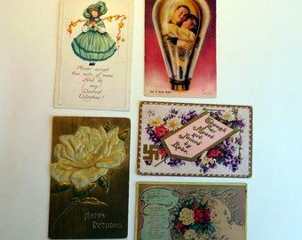 Lot of 5 Antique Vintage Valentine / Romance Postcards circa 1910 - Edwardian Color Lithograph Embossed Cards - Ephemera - Collage Supply
