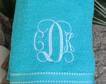 Monogrammed Beach Towel TURQUOISE makes a great Birthday Gift or Pool Party Favor;  Monogram Included